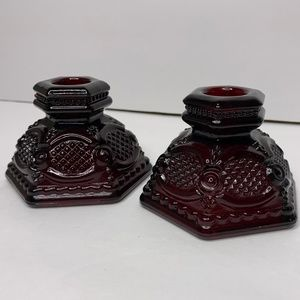 Two Vintage Burgundy Glass Pillar Candle Holders